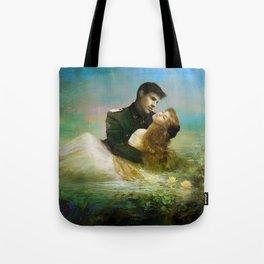 Love me tender - Sad couple in loving embrase in the lake Tote Bag