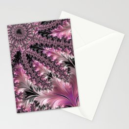 Funky Fun Elegant Feminine Girly Pink Black Trendy Stylish Feathers Delicate Intricate Fractal Art Stationery Cards
