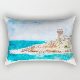 Aquarelle sketch art. Beautiful azure sea and the rocky beach, Tyrrhenian sea in Tuscany, Italy Rectangular Pillow
