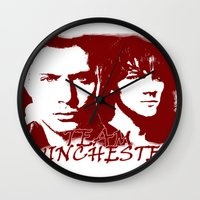 winchester Wall Clocks featuring Team Winchester by Panda Cool
