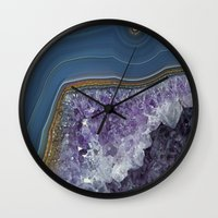 geode Wall Clocks featuring Amethyst Geode Agate by CAROL HU