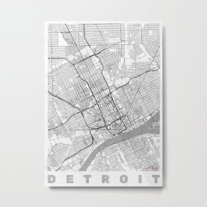 Detroit Map Line Metal Print