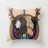 warcraft Throw Pillows featuring Lions! Make You Brave by Emily Anne Daugherty