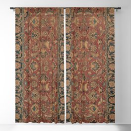 Flowery Boho Rug I // 17th Century Distressed Colorful Red Navy Blue Burlap Tan Ornate Accent Patter Blackout Curtain