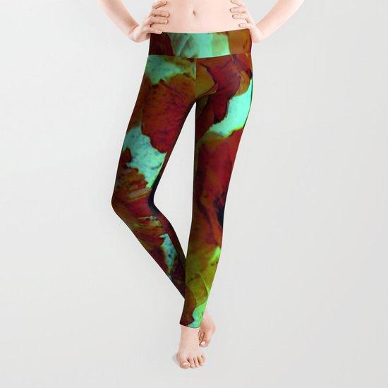 marsala floral Leggings