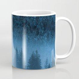 Magical fog over snowy spruce forest Coffee Mug
