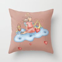 angel Throw Pillows featuring Angel by Catru