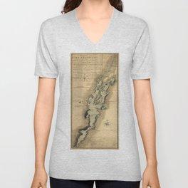 Vintage Map of Lake Champlain (1865) Unisex V-Neck
