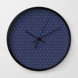 Sashiko stitching indigo pattern 1 Wall Clock