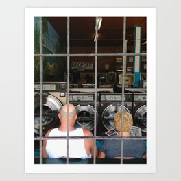 laundromat couple Art Print