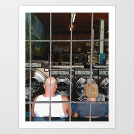 laundromat couple Art Print