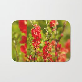 Chaenomeles shrub red flowering Bath Mat