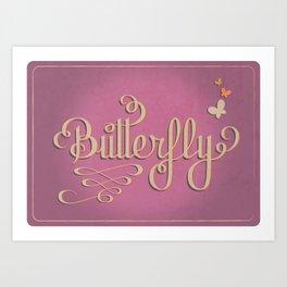 Butterfly Letttering Art Print