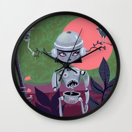 Robo Girl with her spaceship Wall Clock