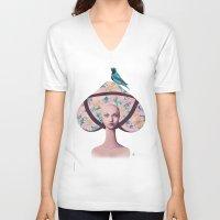 gemma V-neck T-shirts featuring Gemma Bunny by Gina Martynova