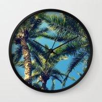 palm tree Wall Clocks featuring Palm Tree by Jillian Stanton