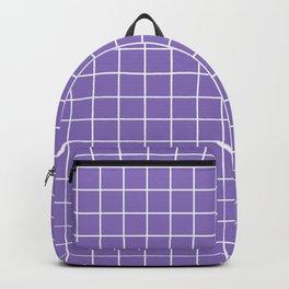 Middle blue purple - violet color - White Lines Grid Pattern Backpack