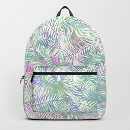 Pastel pink lavender green watercolor tropical leaves Backpack