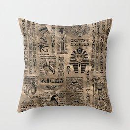 Egyptian hieroglyphs and deities - Luxury Gold Throw Pillow