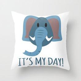 Boy Birthday Elephant Nature Wildlife Kids Children Party Celebration gift idea Throw Pillow