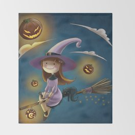 Little witch Throw Blanket