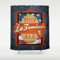 ale giorgini Shower Curtains featuring American Cream Ale by La Femina Brewing Co.