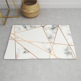 White, Gray, Gold Marble Geometric Pattern Rug