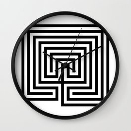 Cretan labyrinth in black and white Wall Clock