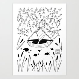 """""""Come Sail Away"""" black and white ink drawing of a little sailing boat in a small lily pond Art Print"""
