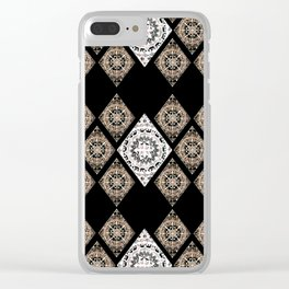 Rose-Gold and Metallic White Mandala Diamonds Textile Clear iPhone Case