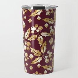 Christmas pattern.Gold sprigs on a dark Burgundy background. Travel Mug