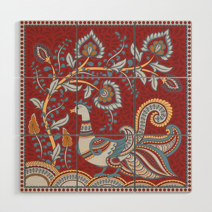 Bird And A Flower Branch Indian Style Kalamkari Wood Wall Art By Irinaskaska