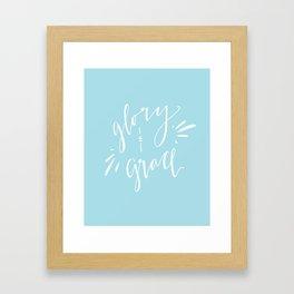 Glory and Grace // Blue Framed Art Print