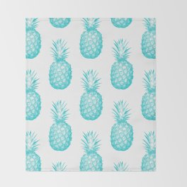 Teal Pineapple Throw Blanket