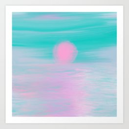 Abstract lavender teal pink watercolor sunset Art Print