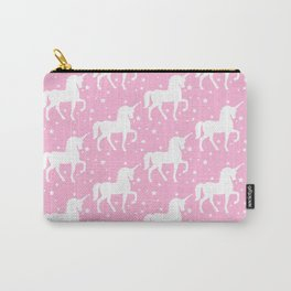 Pink Unicorn and Stars Pattern Carry-All Pouch