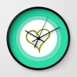 Green Heart with Love Wall Clock