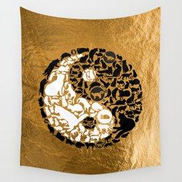 Yin-Yang Cats - Gold Wall Tapestry