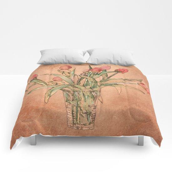 Vintage tulips Comforters