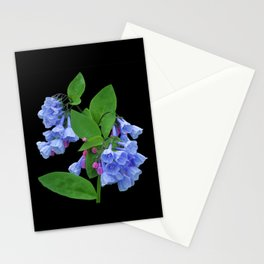 Spring Bluebells on black Stationery Cards