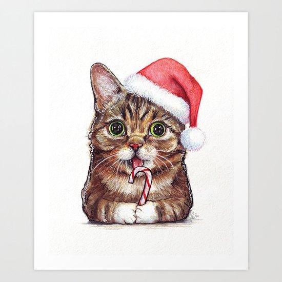 Christmas Animal Santa Cat Art Print