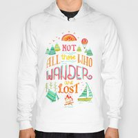 baloon Hoodies featuring Not All Those Who Wander ii by becca cahan