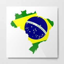 Brazil Map with Flag Vector Metal Print
