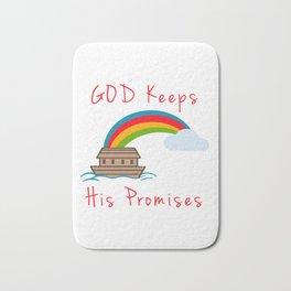 Cute Noahs Ark God Keeps His Promises Rainbow Bath Mat