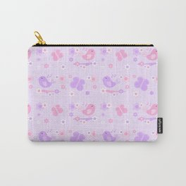 Chickadee Bird Butterfly Floral Purple Lavender Pink Carry-All Pouch