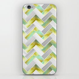 Parquetry in Watercolour - Acid Green iPhone Skin