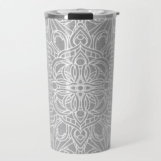 White Mandala on Grey Linen by kellydietrich