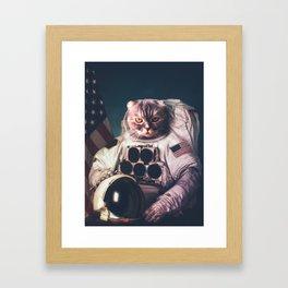 Beautiful cat astronaut Framed Art Print