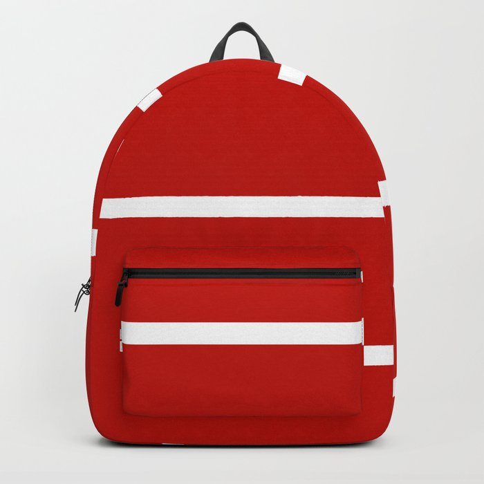 Abstract Minimal Retro Stripes Red Backpack