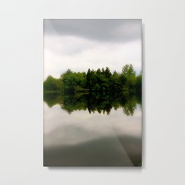Foggy Tree Reflections Metal Print